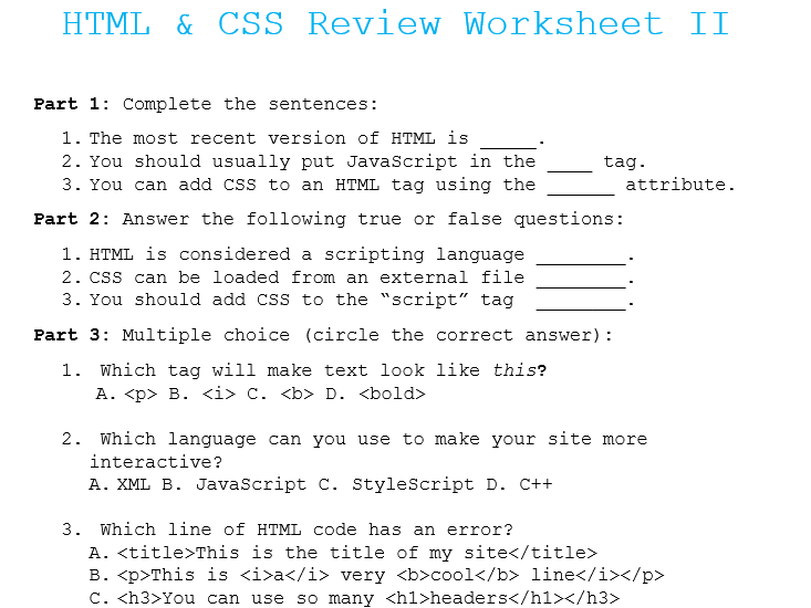 HTML & CSS Coding Review Worksheet II
