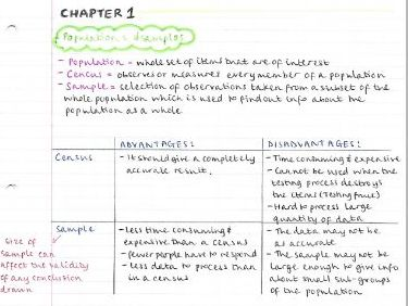 AS Maths Statistics notes- Chapter 1 (Data collection)