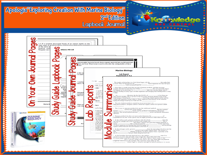 Apologia Exploring Creation With Marine Biology 2nd Edition Lapbook Journal