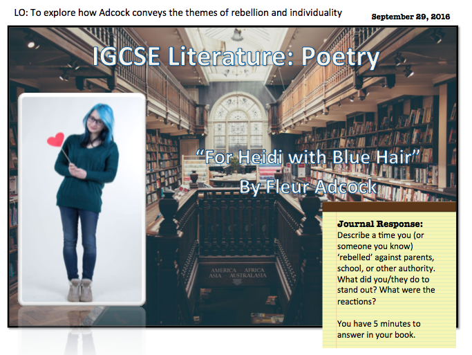 For Heidi with Blue Hair (IGCSE Literature)