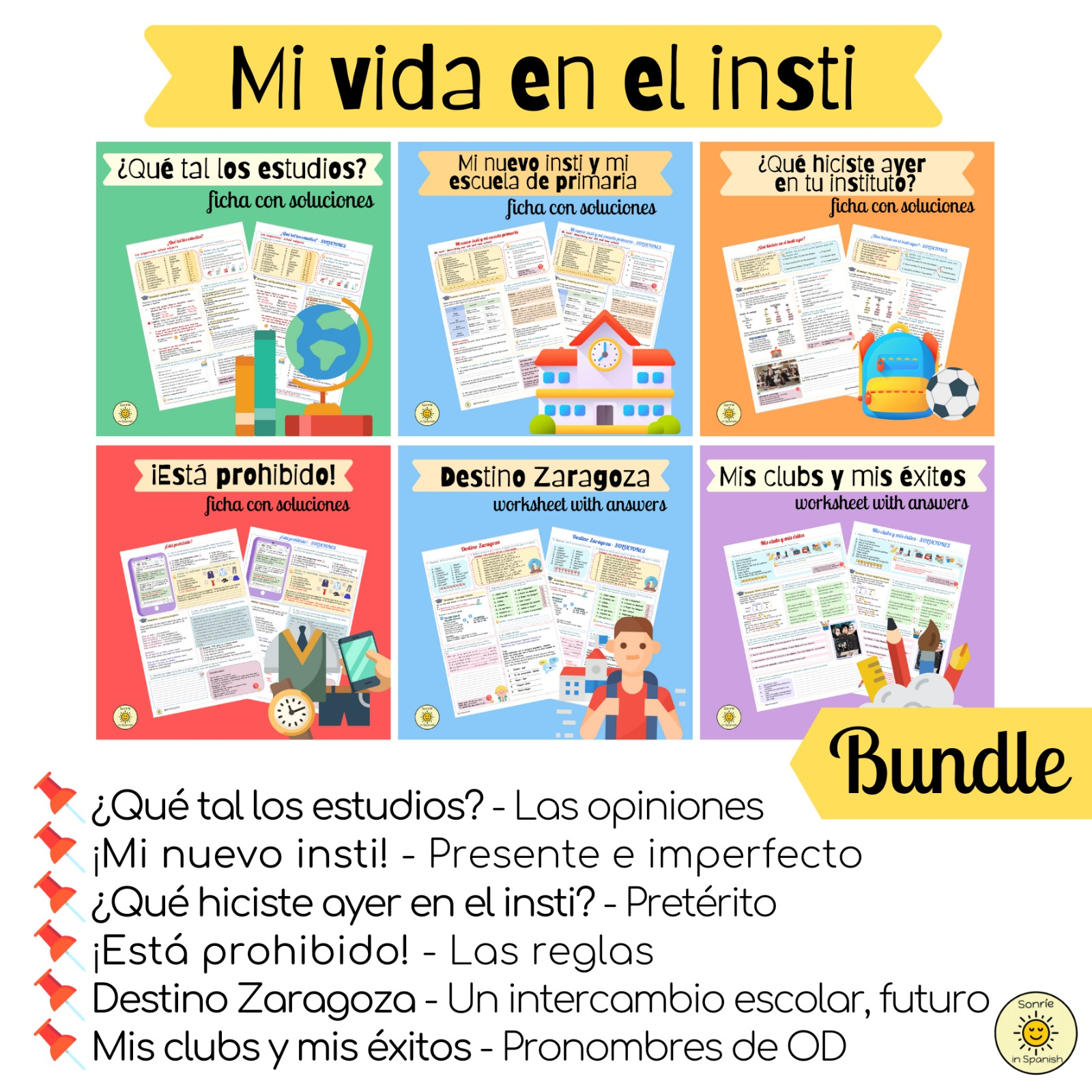 Mi vida en el insti. Pack de fichas con soluciones sobre el tema del  instituto y los estudios. Spanish GCSE bundle on the topic of High School. Worksheets with answers