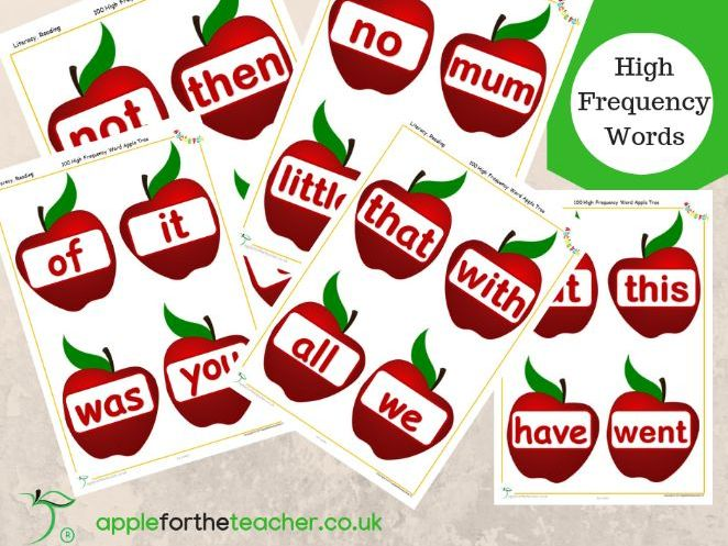 High Frequency Words On Apples Display