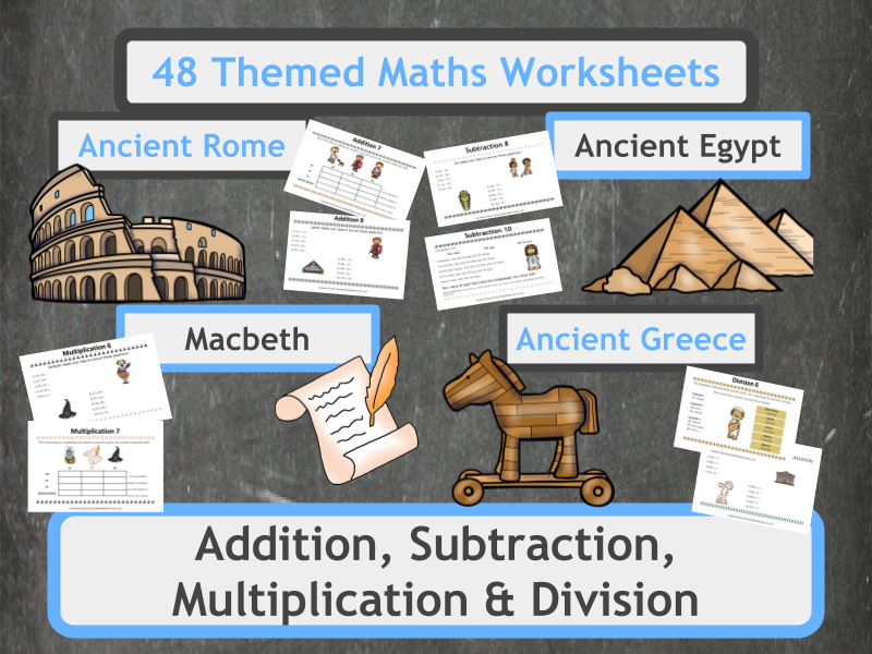 Addition, Subtraction, Multiplication and Division Worksheets - Including Themed Word Problems