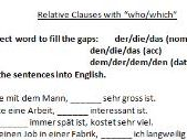 German relative clauses worksheet