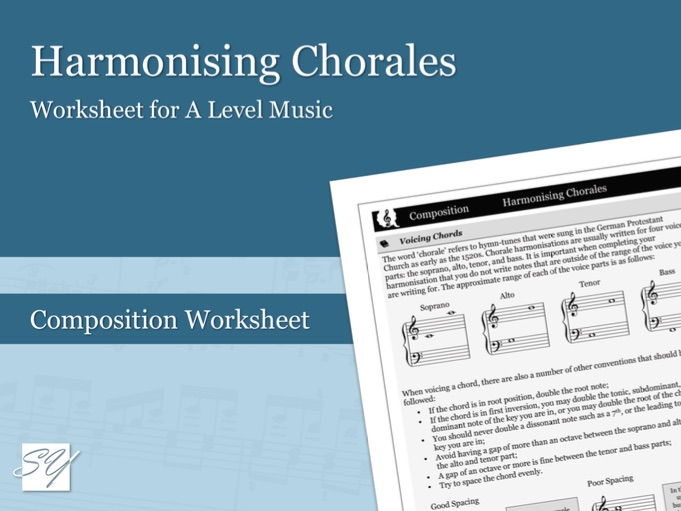 Harmonising a Chorale in the Style of J. S. Bach – Composition Worksheet for A Level Music