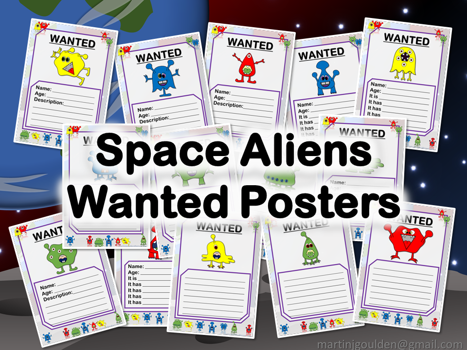 Space Alien Wanted Description Posters