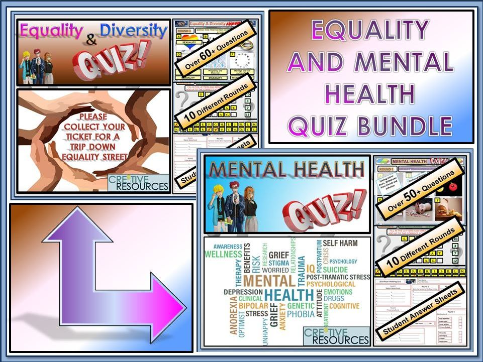 Equality and Mental Health Quiz Lessons Bundle