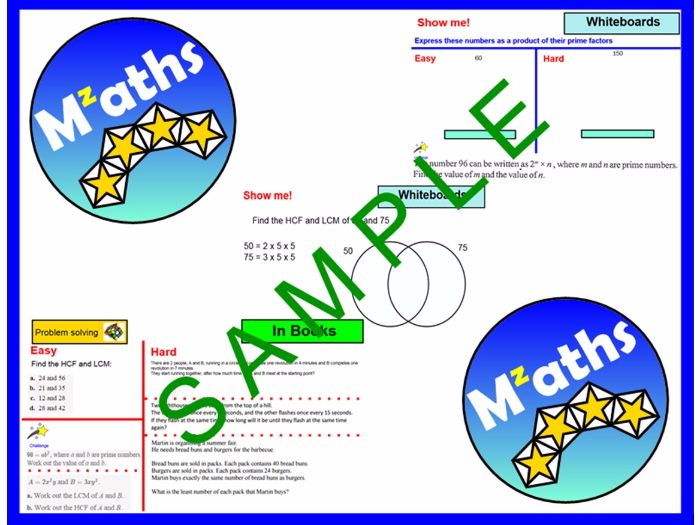 Highest Common Factor/Lowest Common Multiple/Prime Factors/Venn Diagrams/Problem Solving/Revision