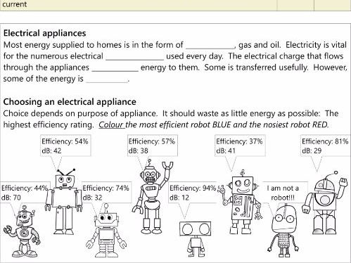 GCSE  AQA P1.8 Electrical Appliances workbook NEW SPEC