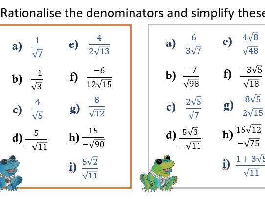 Surds - Rationalising the Denominator (Single Term Denominator)