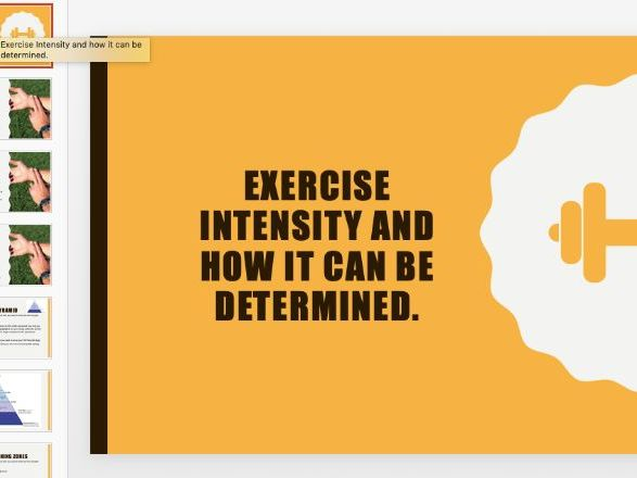 Exercise Intensity Ppt BTEC Sport Level2