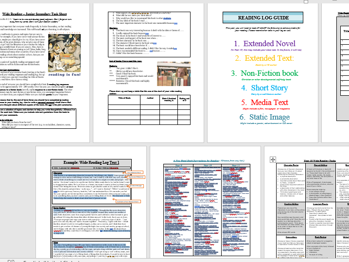 Wide Reading Booklet for Junior Secondary – Reading Log, Reading Responses
