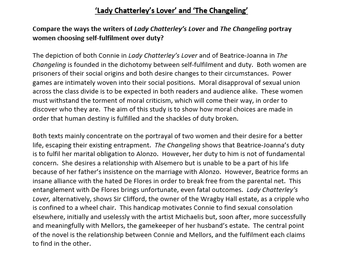 'Lady Chatterley's Lover' and 'The Changeling' Essay