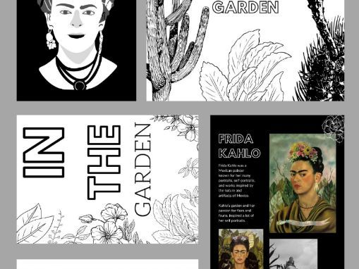 19 Page Colouring & Practical Art Learning From Home Book |  In The Garden | Kahlo & Monet