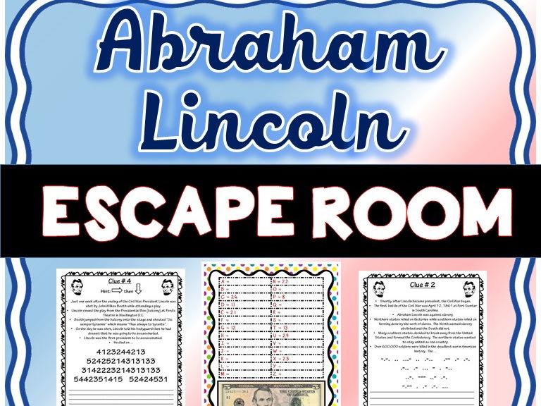 Abraham Lincoln Escape Room - No Prep!