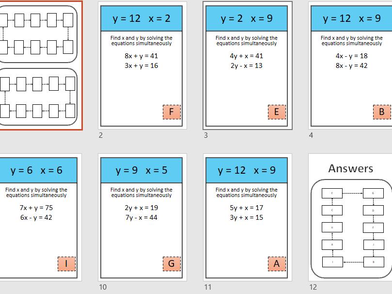 Simultaneous equations treasure hunt (easy)
