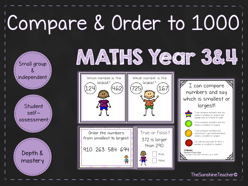 Comparing & Order to 1000 - Year 3&4 - Math - Place Value - 3 NO PREP Resources Bundle