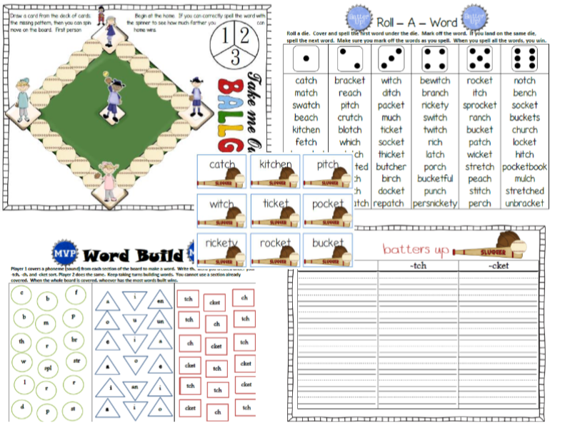 Tch, Ch, and Chet Word Work Phonics Activities
