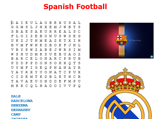 Spanish Football Word Search