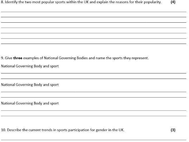 GCSE PE OCR New 2016 Spec End of Unit Test 2.1 a, b & c