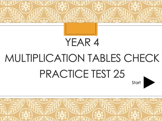 25 Practice tests for year 4 multiplication tables check