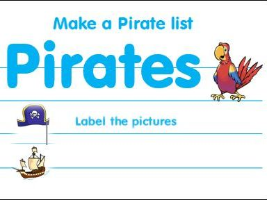 Pirate List and Label Worksheets