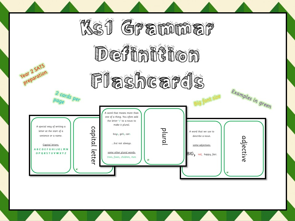 KS1 GRAMMAR DEFINITIONS FLASHCARDS - LARGE