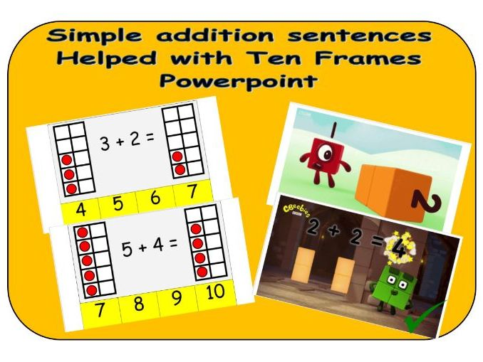 Simple addition sentences with Ten Frames Powerpoint - Children's independent activity