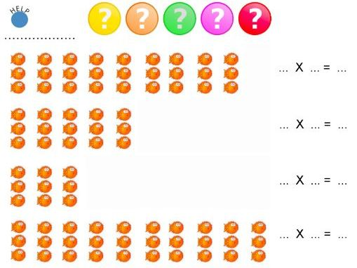 Multiply by 2,3,4 & 5 with Arrays Worksheets