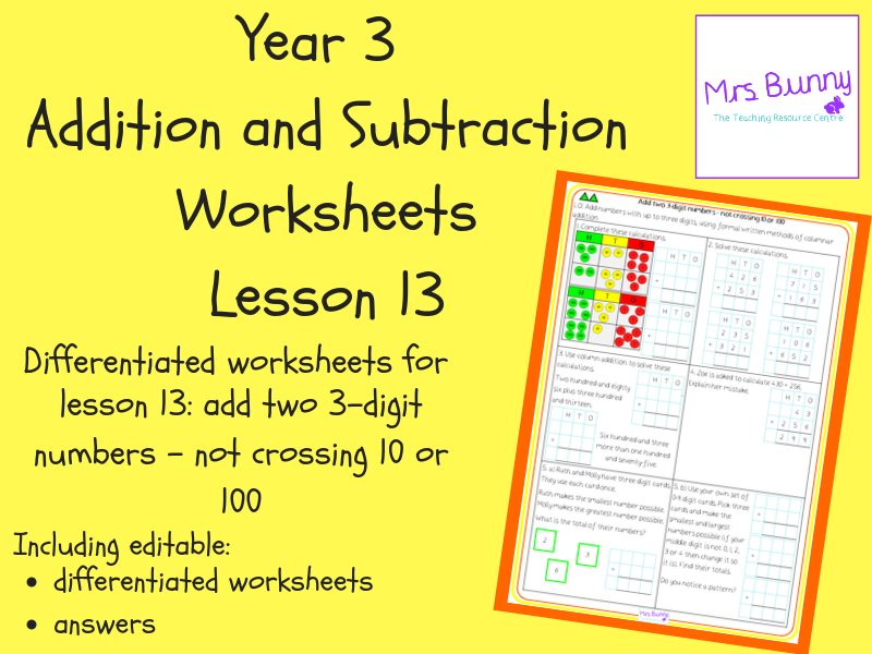 Add two 3-digit numbers - not crossing 10 or 100 worksheets (Year 3 Addition and Subtraction)