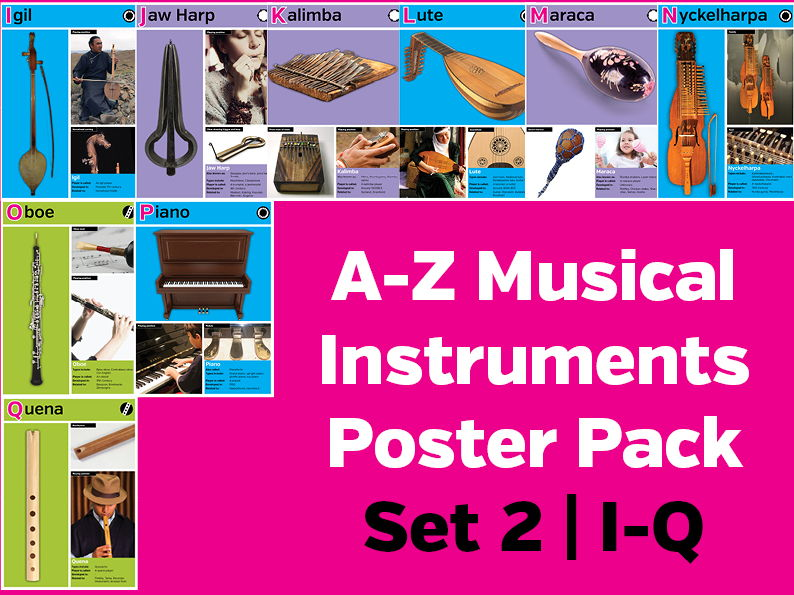 A-Z Musical Instruments Poster Pack Set 2: I-Q