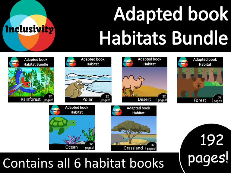 Adapted books Habitat Bundle all 6 books! Levels 1, 2 and 3; matching activity and animal sort