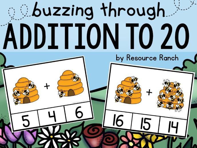 "Addition Clip Cards ""Buzzing through Addition to 20"""