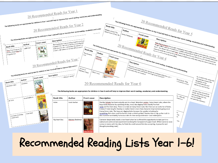 English- Recommended Reading lists for Year 1-6 2019/20