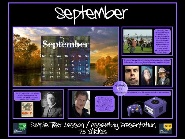 September PowerPoint Lesson / Assembly Presentation- SIMPLE TEXT - 75 Slides