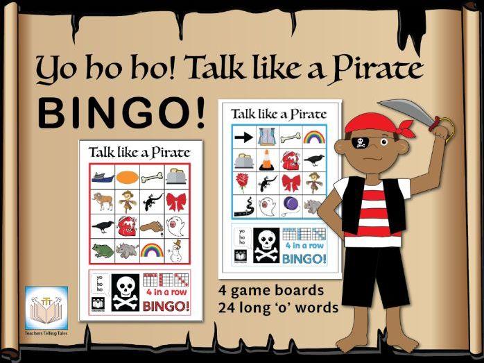 Yo ho ho! Talk like a Pirate Bingo