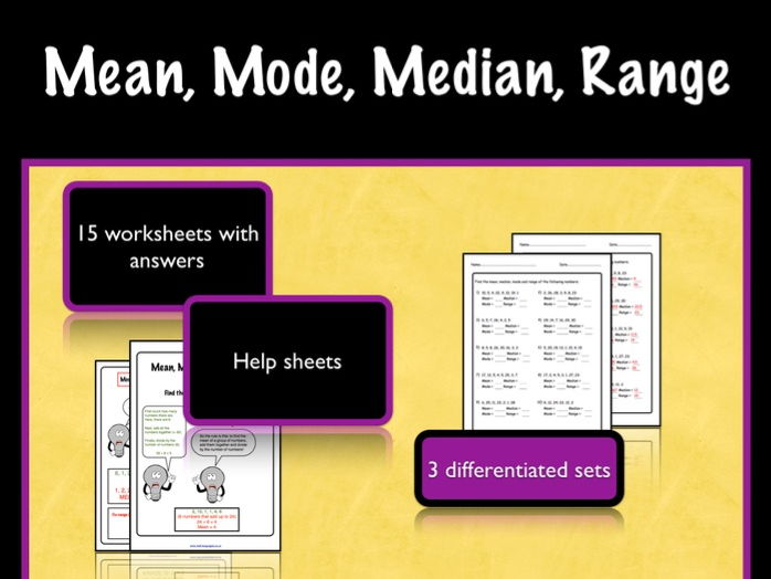 Averages: Mean, Mode, Median and Range.  KS2/3 Worksheets