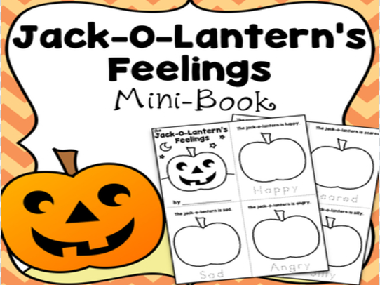 Feelings Mini-Book, Draw The Jack-O-Lantern's Face & Trace The Feelings Words