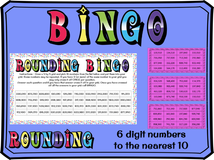 Rounding to the nearest 10 with 6 digit numbers BINGO