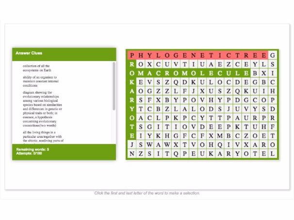 WORD SEARCH: Themes and Concepts in Biology 2