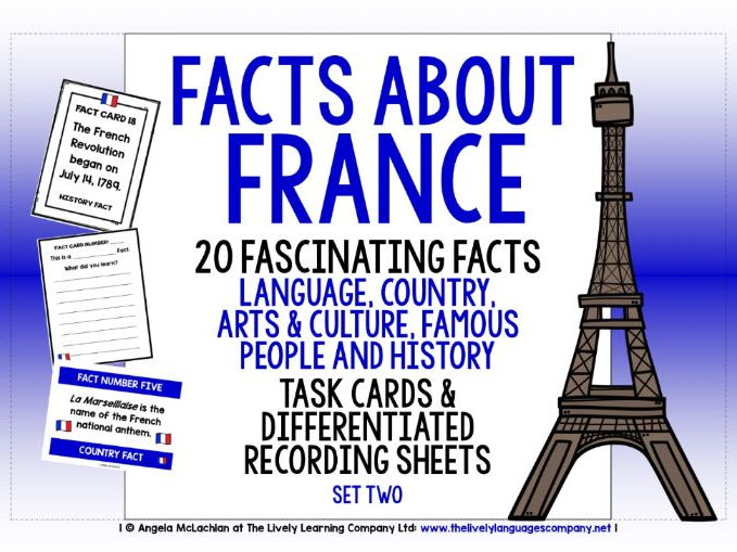 FRENCH FOR CHILDREN FACTS TASK CARDS, RECORDING SHEETS, DISCUSSION ACTIVITY (2)