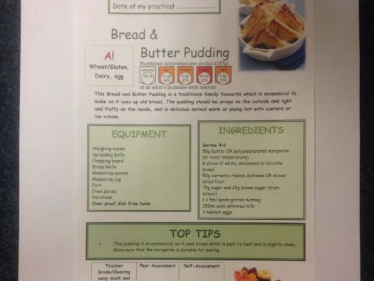 Bread and Butter Pudding FULL Recipe Sheet