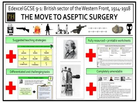 British sector of the Western Front - move to aseptic surgery
