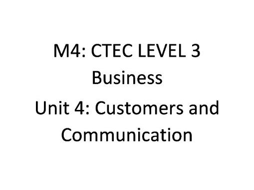 CTEC Level 3 Business: UNIT 4 M4