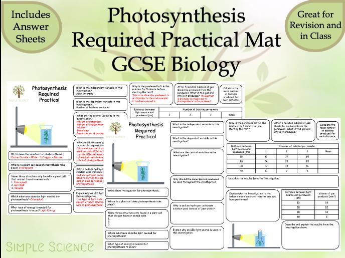 Photosynthesis Required Practical Mat - AQA GCSE Biology