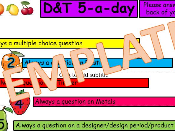 GCSE DT Memory Recall questions 5 A Day. Starter/Mini-Plenary/Plenary