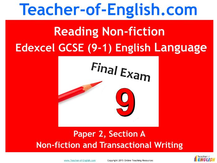 Edexcel 9-1 GCSE English Reading Nonfiction Texts (PowerPoint and worksheets)