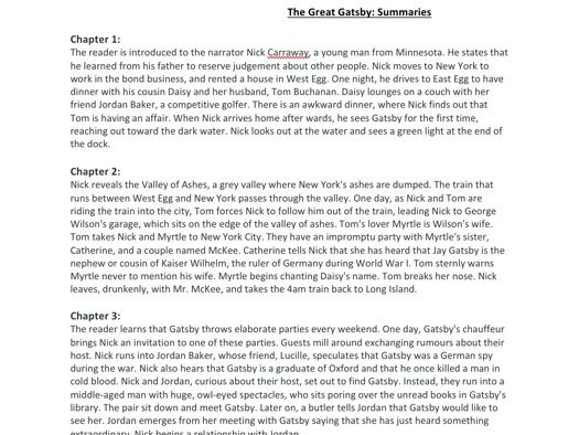 The Great Gatsby chapter summaries