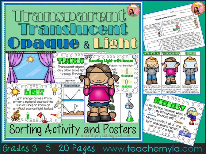 Transparent, Translucent, and Opaque Sorting Worksheets
