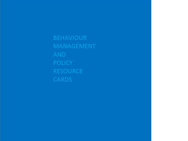 Cards listing strategies which can  used in Behaviour Management